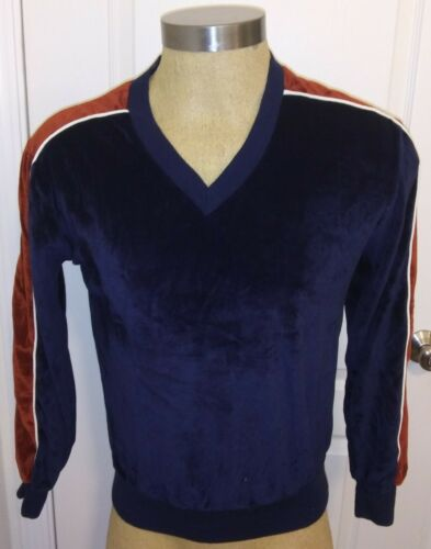 1970's Velation Mens M Blue Stripe Velour Sweatshi