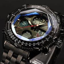 SHARK Black Stainless Steel Analog LCD Digital Men's Army Sport Quartz Watch