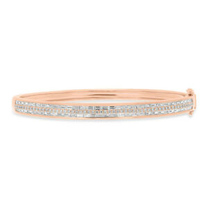 10ade8cbf3c39 Details about 14K Rose Gold Round Baguette Diamond Bangle With Clasp 1.87  TCW