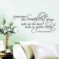 New Sometimes The Smallest Things Wall Sticker Winnie The Pooh Quote Vinyl Decal