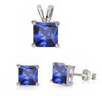 Princess Shape Tanzanite .925 Sterling Silver Earrings & Pendant Set on sale