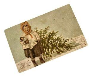 Christmas-Postcard-1907-Antique-Girl-w-Doll-Myrtle-Littig-Rock-Island-IL