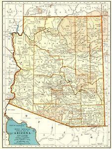 1943-Antique-MAP-of-ARIZONA-Vintage-Arizona-State-Map-Gallery-Wall-Art-6344