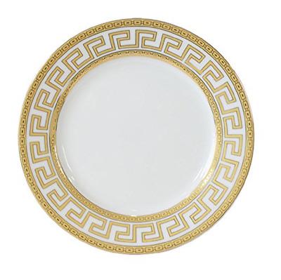 Service for 4 16 Pcs Royal Blue /&  Gold Greek Key  Versailles Dinner Set