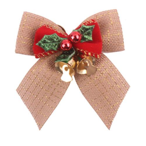 1//5Pcs Christmas Bowknot with Bells Xmas Tree Home Hanging Xmas Decoration