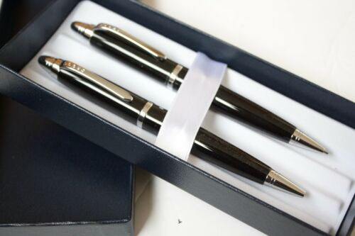 CROSS BLACK AND CHROME BALL POINT PEN SET PENCIL SET RRP £60 BRAND NEW
