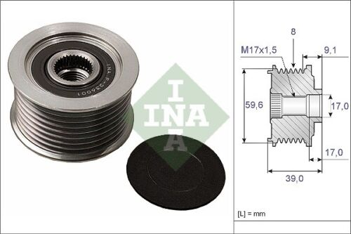 INA Over Running Alternator Clutch Pulley 535 0049 10 535004910-5 YR WARRANTY
