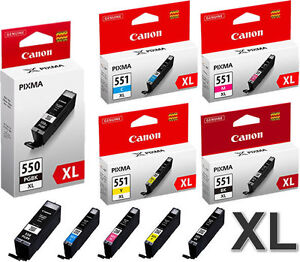 5x original xl set tinte patronen canon pixma ip8750. Black Bedroom Furniture Sets. Home Design Ideas