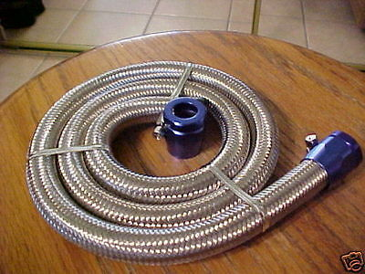 """x 24/"""" Braided Stainless Steel Red Blue Worm Gear Clamps Fuel Hose 1//4/"""" I.D"""