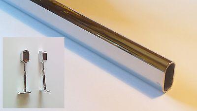 Kleiderstange mit 2 Decken/Bodenbefestigungen, Ovalrohr 30x15mm, chrom- 80-120cm