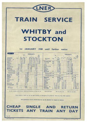 231 Vintage Railway Art Poster Whitby And Stockton Timetable