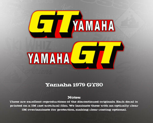 YAMAHA 1979 GT80 TANK DECALS GRAPHICS LIKE NOS