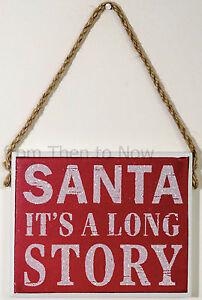 Gisela-Graham-Navidad-Placa-de-madera-letrero-Papa-Noel-it-039-s-a-largo-CUENTO