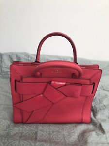 04702ced3698 Image is loading KATE-SPADE-BOW-VALLEY-HELENA-PINK-LEATHER-HANDBAG-