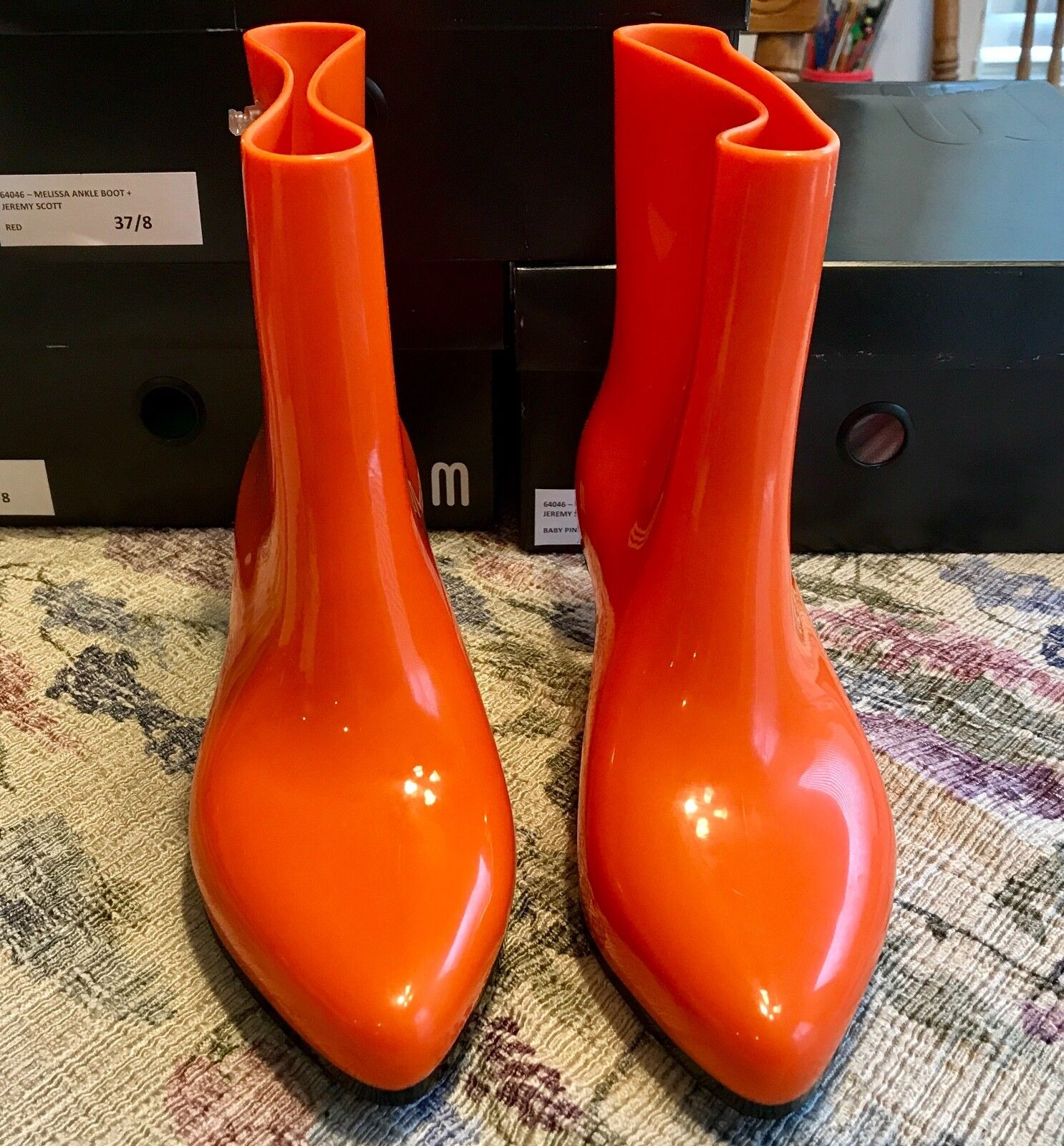Melissa Ankle Boot + Jeremy Scott (Moschino) DK ORANGE AUTHENTIC  Schuhes 7 NIB