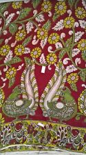 Cotton kalamkari block print blouse fabric - 100 cms length green white R