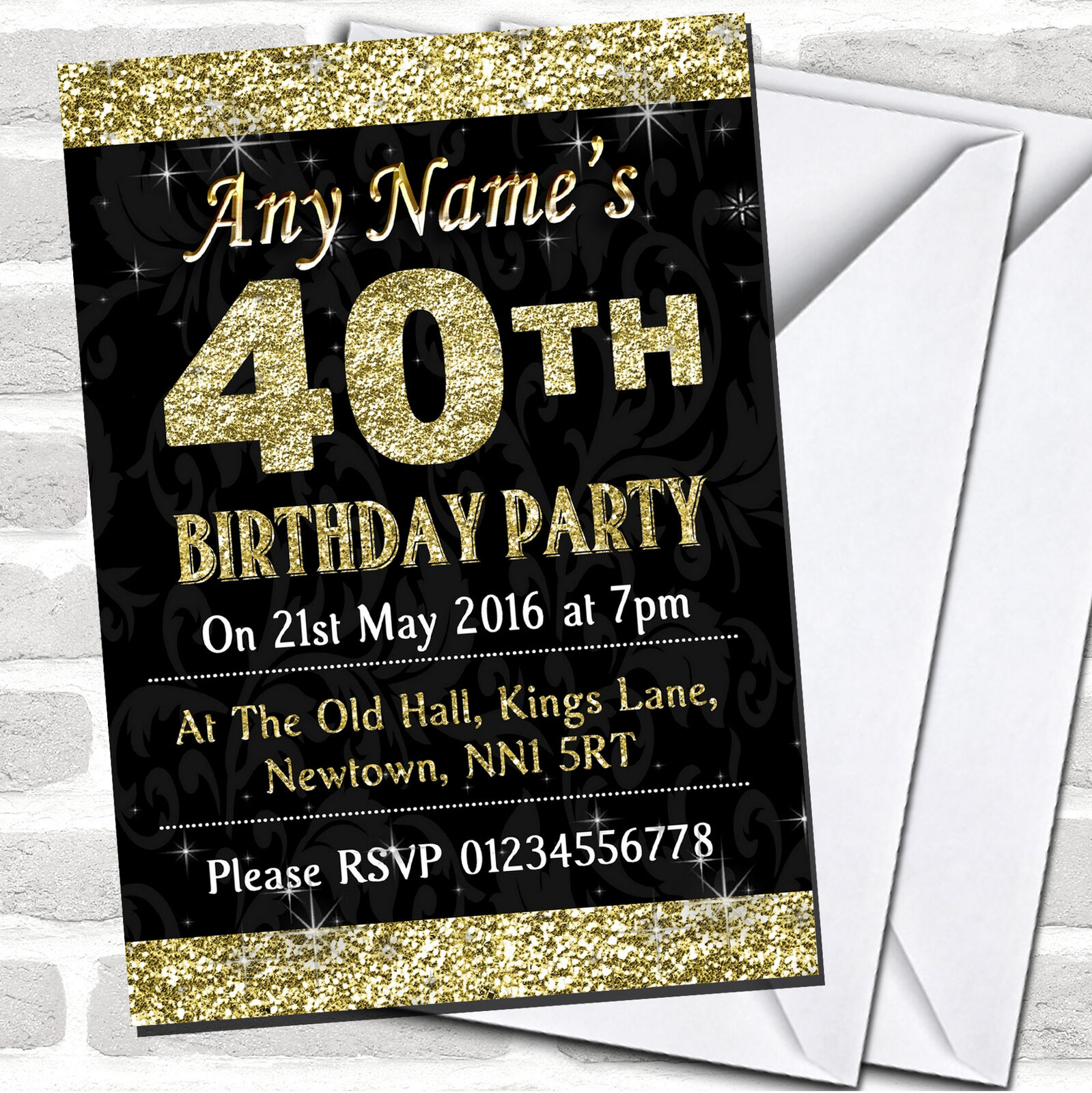 Glitter Look Gold 40Th Party Birthday Invitations Ee3a2c