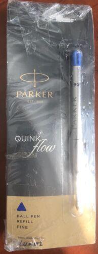 6  Parker Quink Flow Ball-Point Ball Pen BP Refill Fine Blue Brand New Sealed