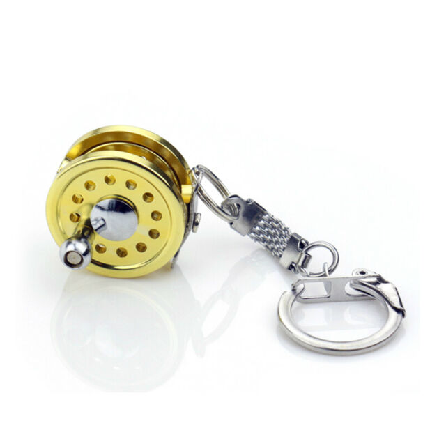 Gold Mini Fly Fishing Reel Miniature Pendant Keyring Key Chain Novelty Gift US