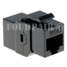 CAT6 Inline Coupler Keystone RJ45 Female to Female Snap-In Jack Insert - Black