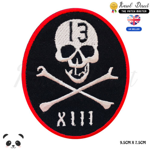 Lucky 13 Biker Skull Embroidered Iron On Sew On PatchBadge For Clothes etc