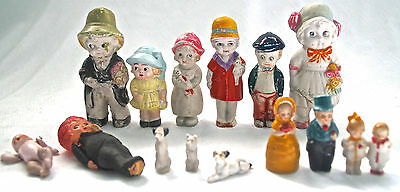 1930s Antique Large Mixed Lot Dollhouse Dolls & Dogs Bisque Celluloid Vtg Toys