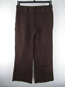 Tommy-Hilfiger-Women-039-s-sz-10-Brown-100-Linen-Low-Rise-Flat-Flare-Full-Leg-Pants