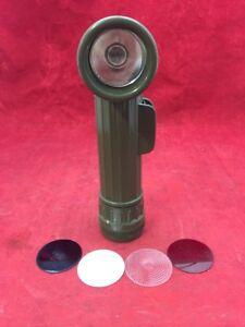 Fulton MX-991\U US Military Surplus OD Flashlight In Box W// Lenses  Great Light!