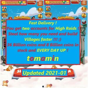 Unlimited high raids from these 2 accounts for 90 days Coin Master Big RAID