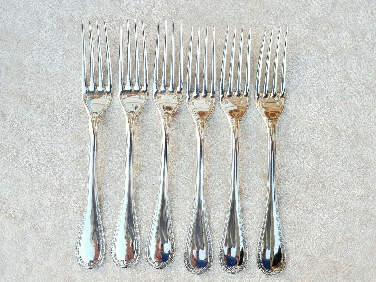 6 fourchettes de table CHRISTOFLE en métal Silberé modèle Malmaison ref 781c