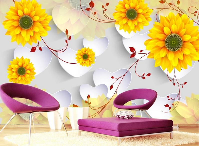 Papel Pintado Mural De Vellón Lindas Flores Doradas 2 Paisaje Fondo De Pantalla