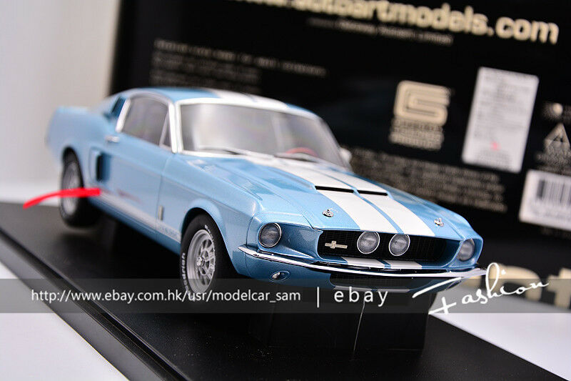 bilkonst 1 18 1967 FORD MUSTANG SHELBUY GT500 blå DIESCAST modellllerL bil