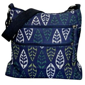 Blue-Shoulder-Bag-Navy-Crossbody-Trees-Across-Body-Canvas-Leaves-Messenger-Bag