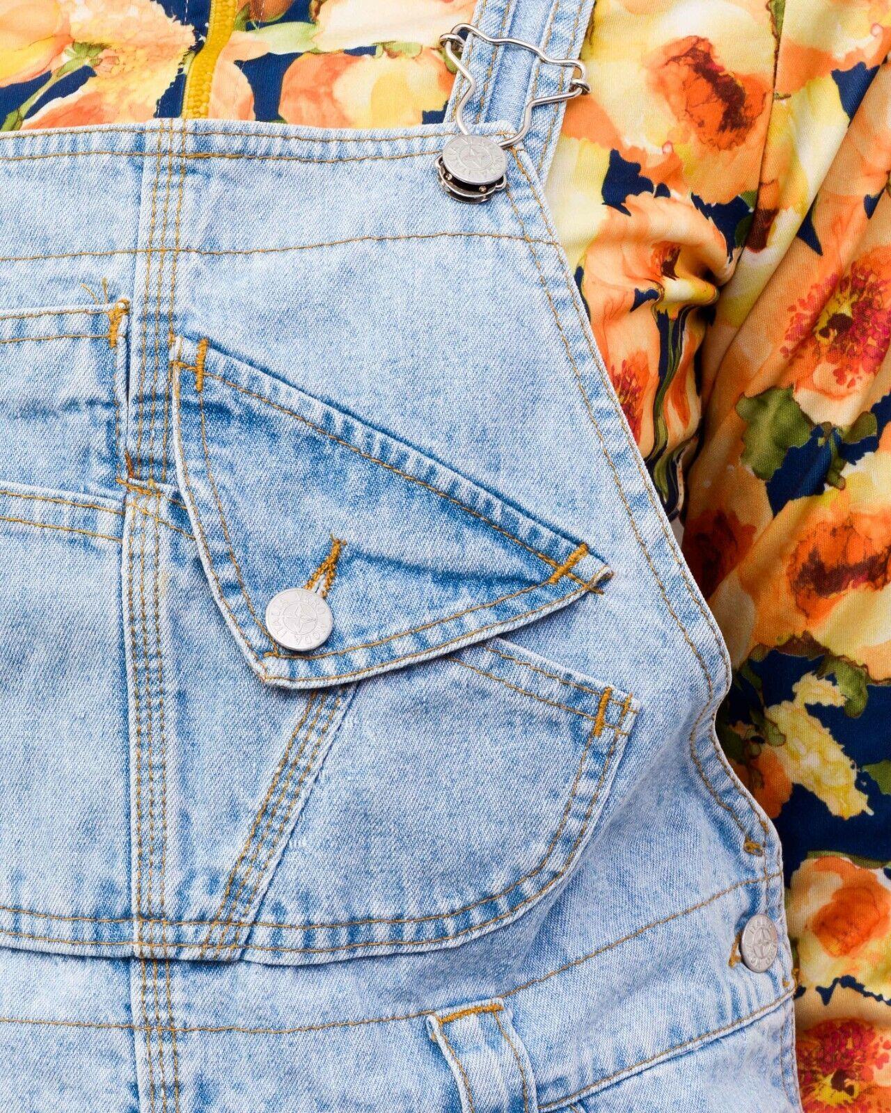 Y2K Women's XS Denim Dungaree Pinafore Dress Butt… - image 6