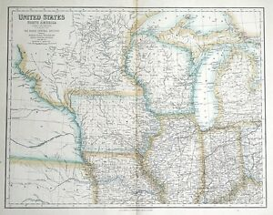Details about UNITED STATES, NORTH AMERICA, NORTH CENTRAL USA Fullarton  antique map c1860
