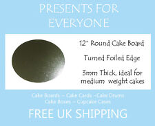 """5 x 12"""" Inch Round Silver Cake Board 3mm FREE SHIPPING"""