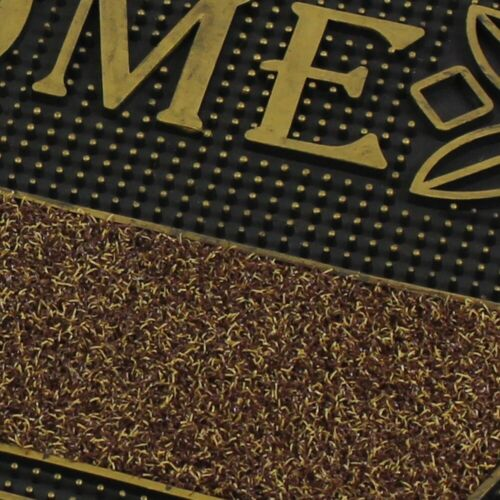 Welcome Metallic Look Floral PVC Entrance Floor Door Pin Mat,Gold//Silver 45x75cm
