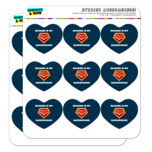 Reading Is My Superpower Heart Shaped Planner Calendar Scrapbook Craft Stickers
