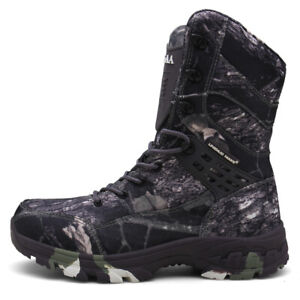 Hombres-Camuflaje-Combate-de-Ejercito-Botas-Botas-Impermeable-De-Lona-Zapatos-militar-anticolision