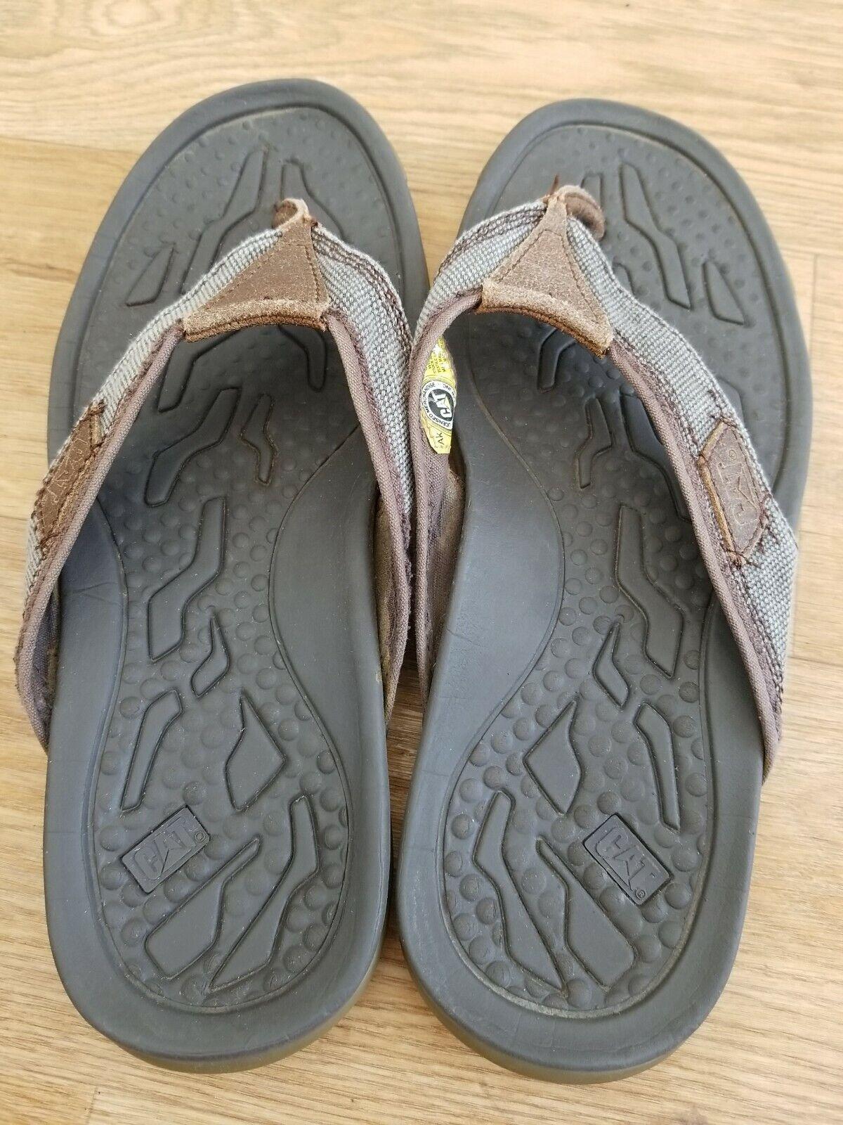 CATERPILLAR Galley Men's Brown Leather Slip On Toe Post Sandals UK 8 EU 42
