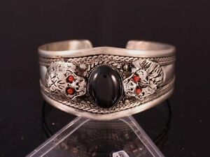 Tibetan Amethyst Turquoise Red Coral Gemstone Carved Dragon Amulet Cuff Bracelet