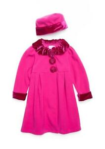f1d743827251 GOOD LAD® Toddler Girls  2T Plum Rosette Collar Fleece Coat   Hat ...