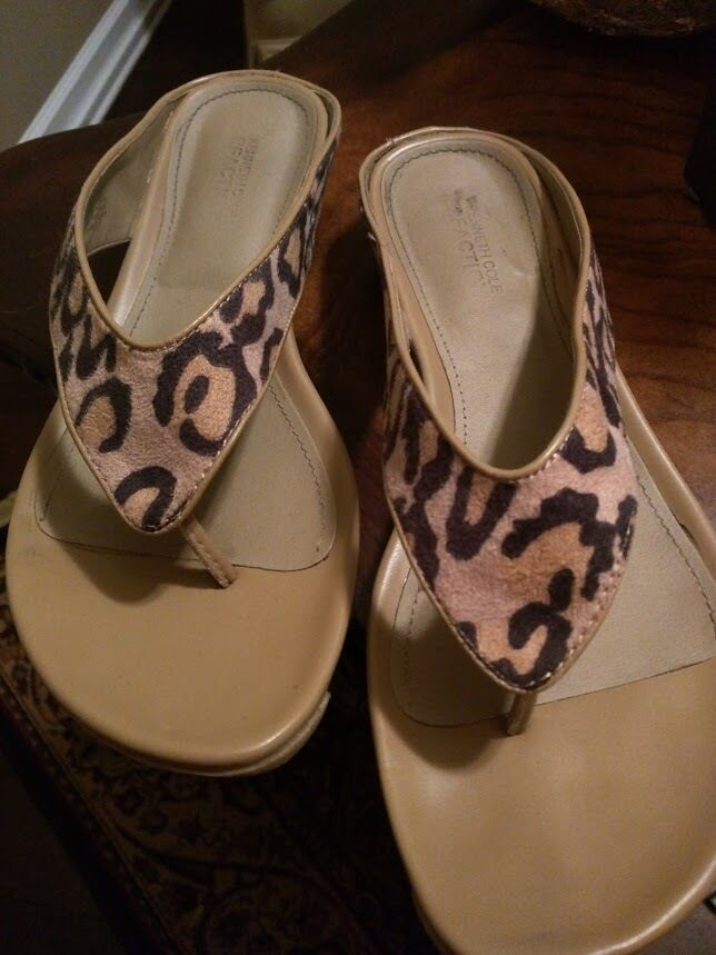 Kenneth Cole Reaction 9.5 Water Park Leopard Natural Sandals Size 9.5 Reaction Flip Flops cab1d6
