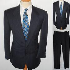 42R Mens 2pc VTG Hart Schaffner Marx MOD Blue Pinstripe Superb Lawyer Wool Suit