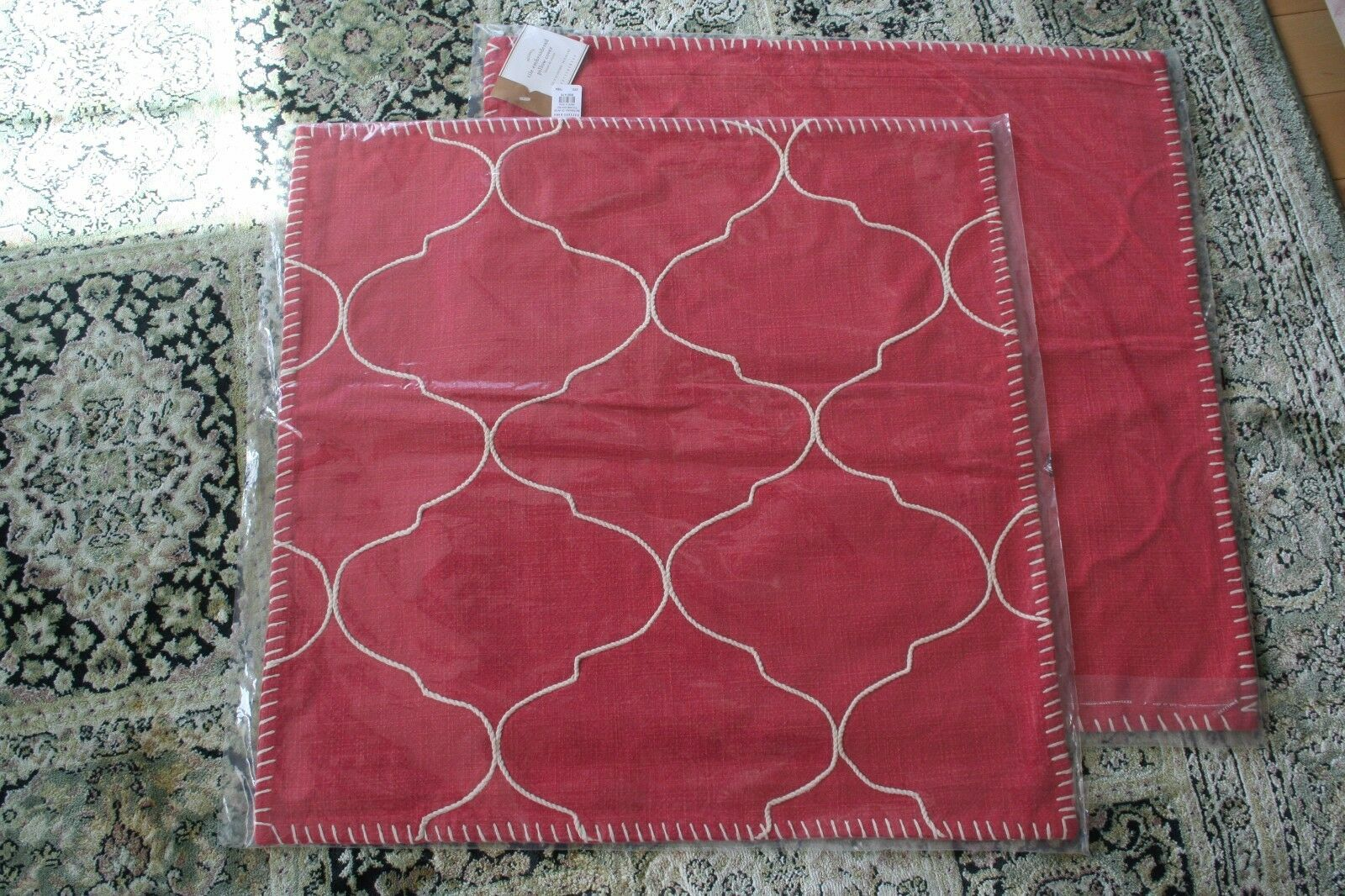 Set of 2 Pottery Barn Red Mgoldccan Tile Embroidered Pillow Covers, 22