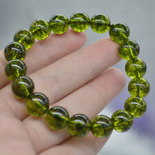 10 mm Natural Green Peridot Gemstone Round Beads Bracelet AAA