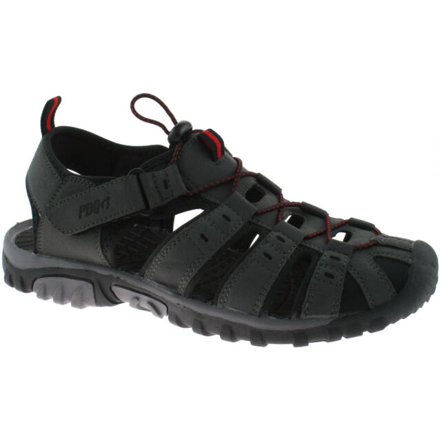 PDQ Ted Trekking Trail Toggle Touch Fastening Summer Sandals Grey/Red Synth.Nubu