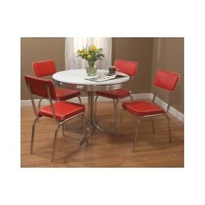 Red Dining Set Table 4 Chairs Retro Vintage Metal Chrome