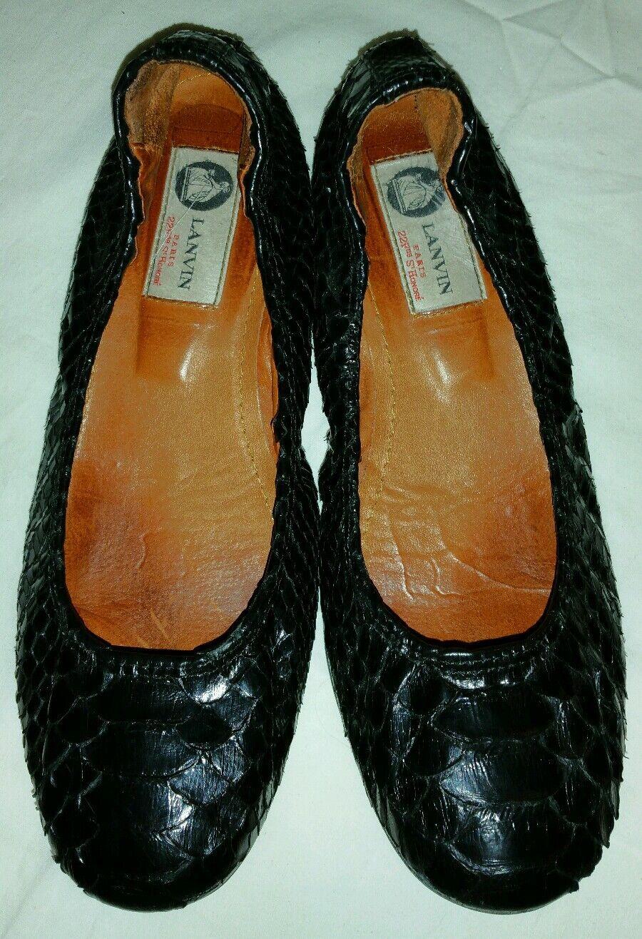 Lanvin Lanvin Lanvin black snakeskin ballet flats sz 7M  795 066dab