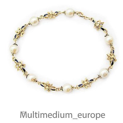 Niedrigerer Preis Mit 750 Er Gold Emaille Perlen Armband Arm Kette 18k 18ct Pearl Gold Bracelet Enamel